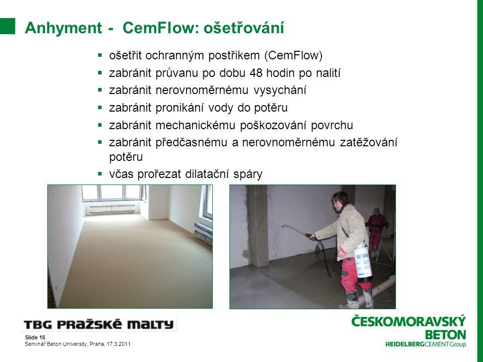 Anhyment - CemFlow: ošetřování