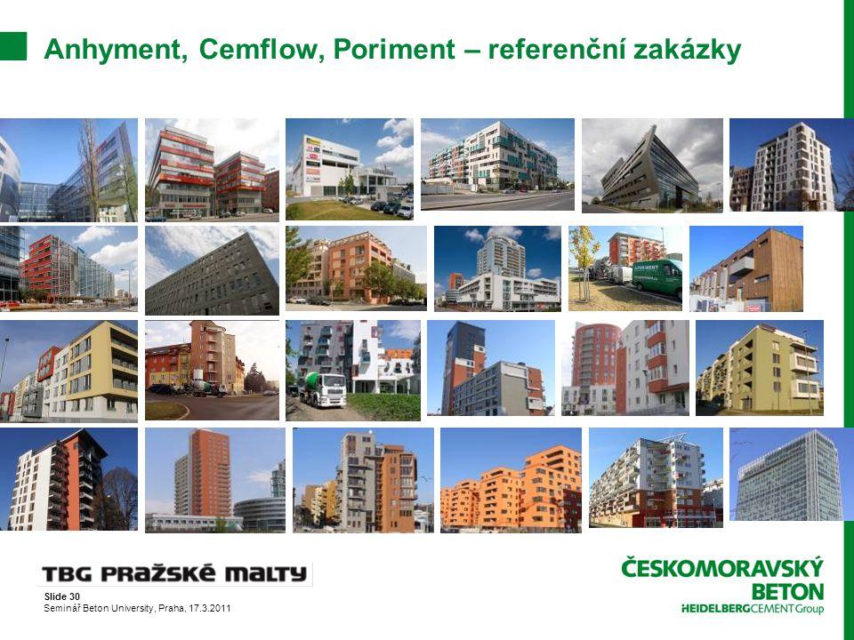 Anhyment, Cemflow, Poriment – referenční zakázky
