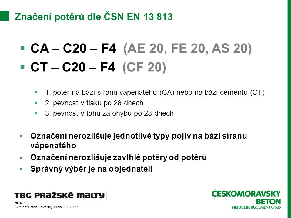 Značení potěrů dle ČSN EN 13 813