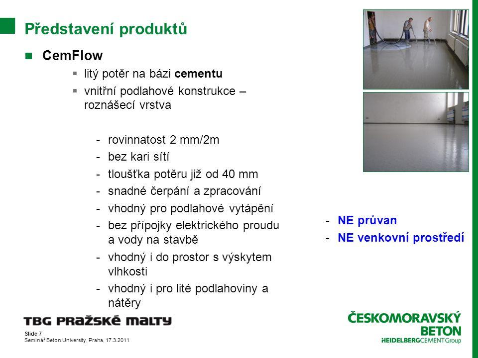 Představení produktů CemFlow litý potěr na bázi cementu