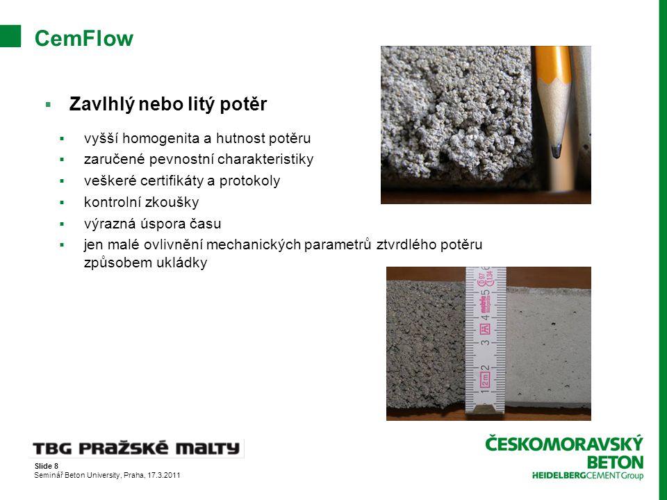 CemFlow Zavlhlý nebo litý potěr vyšší homogenita a hutnost potěru