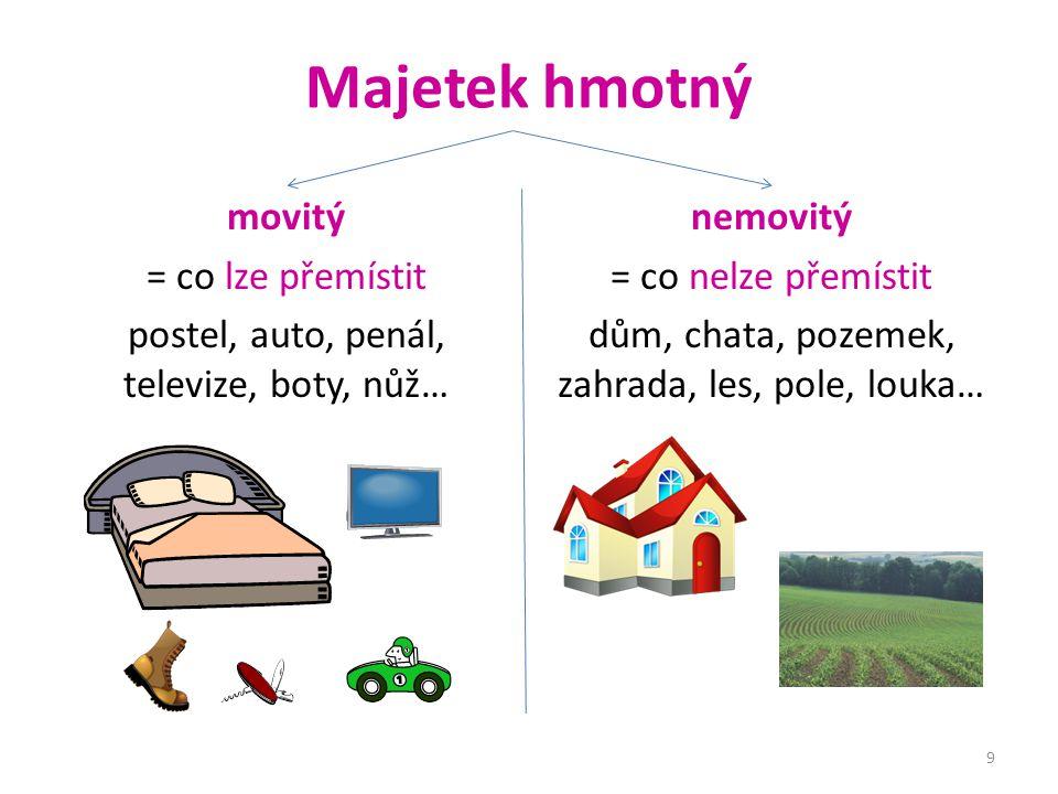 movitý = co lze přemístit postel, auto, penál, televize, boty, nůž…