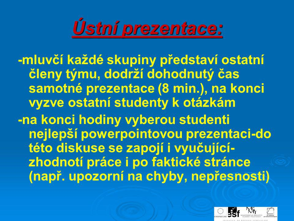 Ústní prezentace: