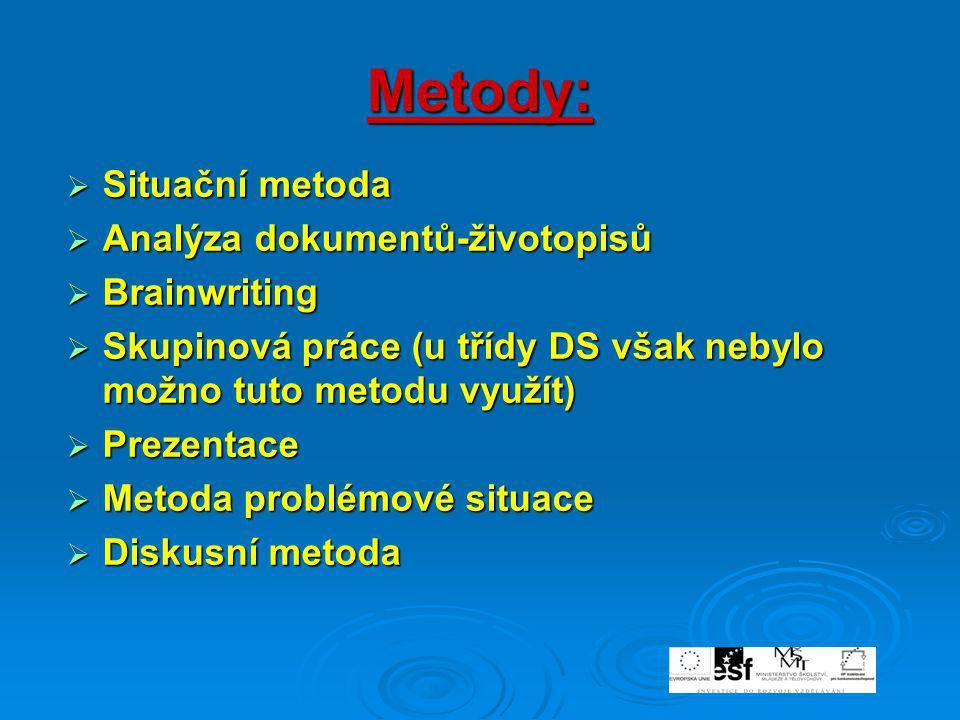 Metody: Situační metoda Analýza dokumentů-životopisů Brainwriting