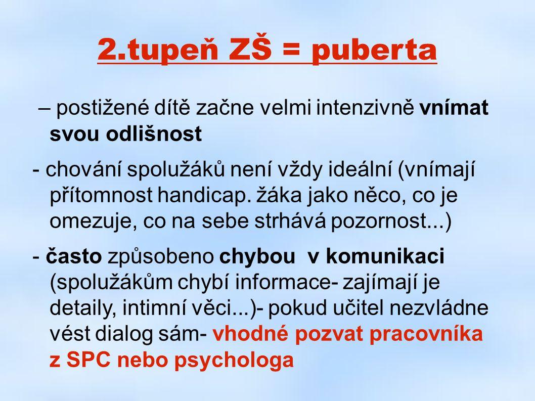 2.tupeň ZŠ = puberta – postižené dítě začne velmi intenzivně vnímat svou odlišnost.