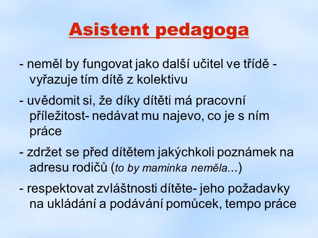 Asistent pedagoga - neměl by fungovat jako další učitel ve třídě - vyřazuje tím dítě z kolektivu.