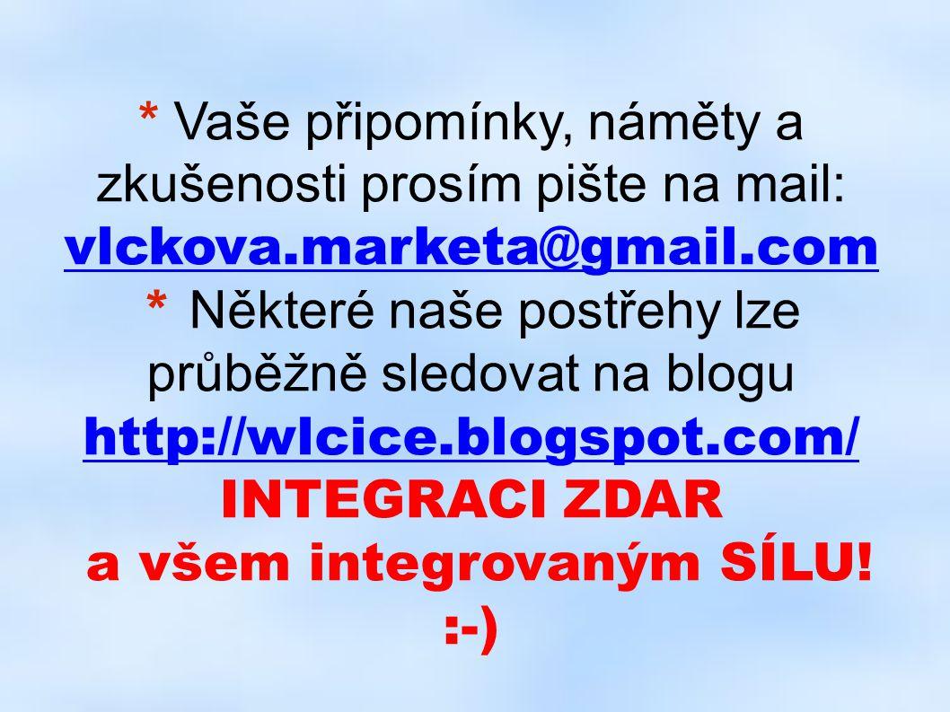 Vaše připomínky, náměty a zkušenosti prosím pište na mail: vlckova