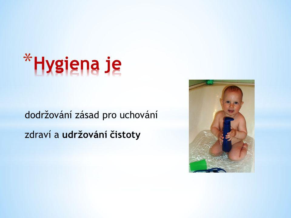 Hygiena je dodržování zásad pro uchování zdraví a udržování čistoty