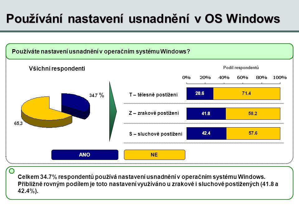 Používání nastavení usnadnění v OS Windows