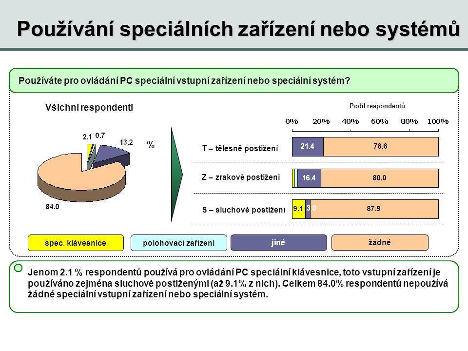 Používání speciálních zařízení nebo systémů