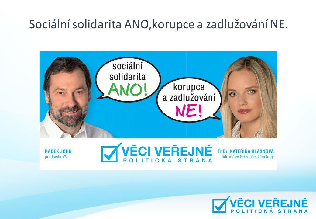 Sociální solidarita ANO,korupce a zadlužování NE.