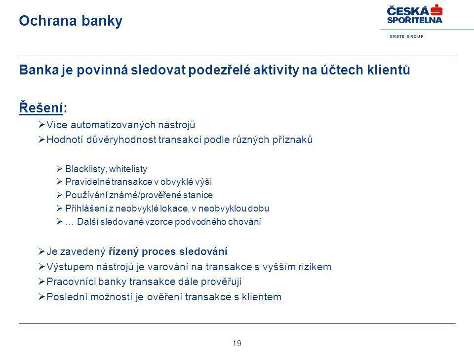 Ochrana banky Banka je povinná sledovat podezřelé aktivity na účtech klientů. Řešení: Více automatizovaných nástrojů.