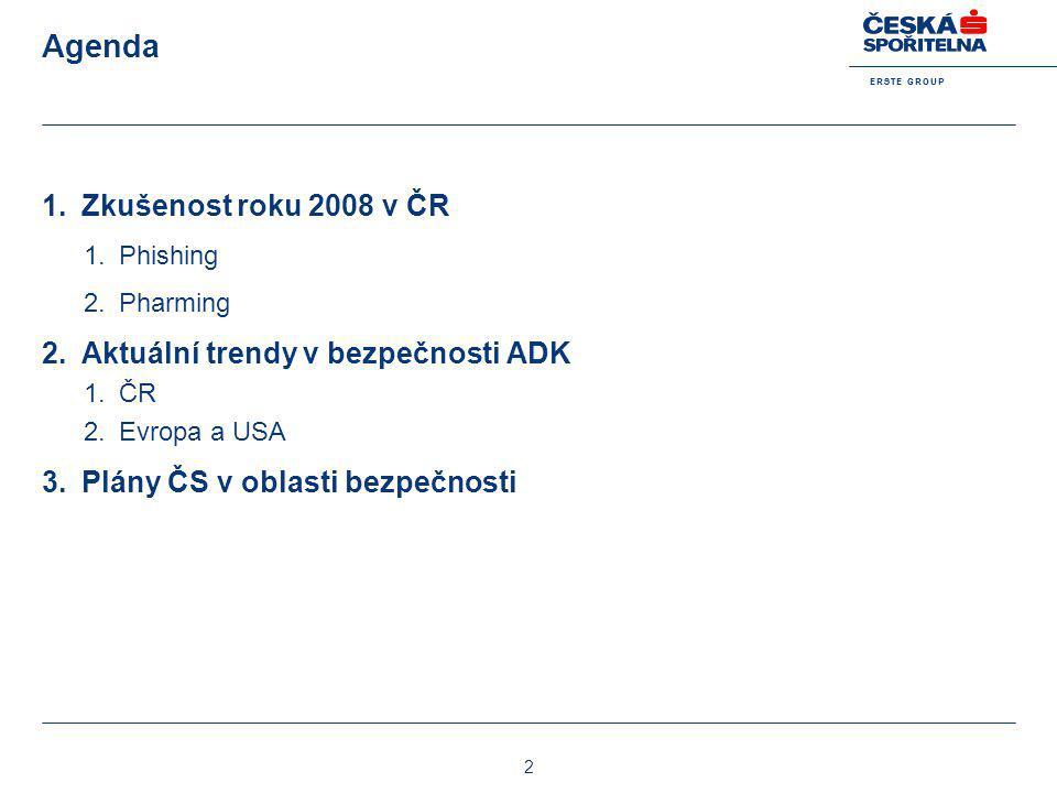 Agenda Zkušenost roku 2008 v ČR Aktuální trendy v bezpečnosti ADK