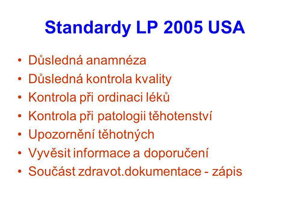 Standardy LP 2005 USA Důsledná anamnéza Důsledná kontrola kvality