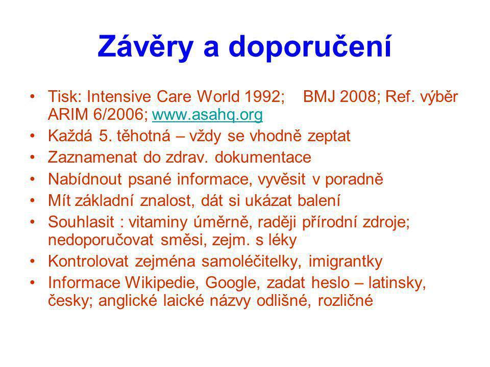 Závěry a doporučení Tisk: Intensive Care World 1992; BMJ 2008; Ref. výběr ARIM 6/2006; www.asahq.org.