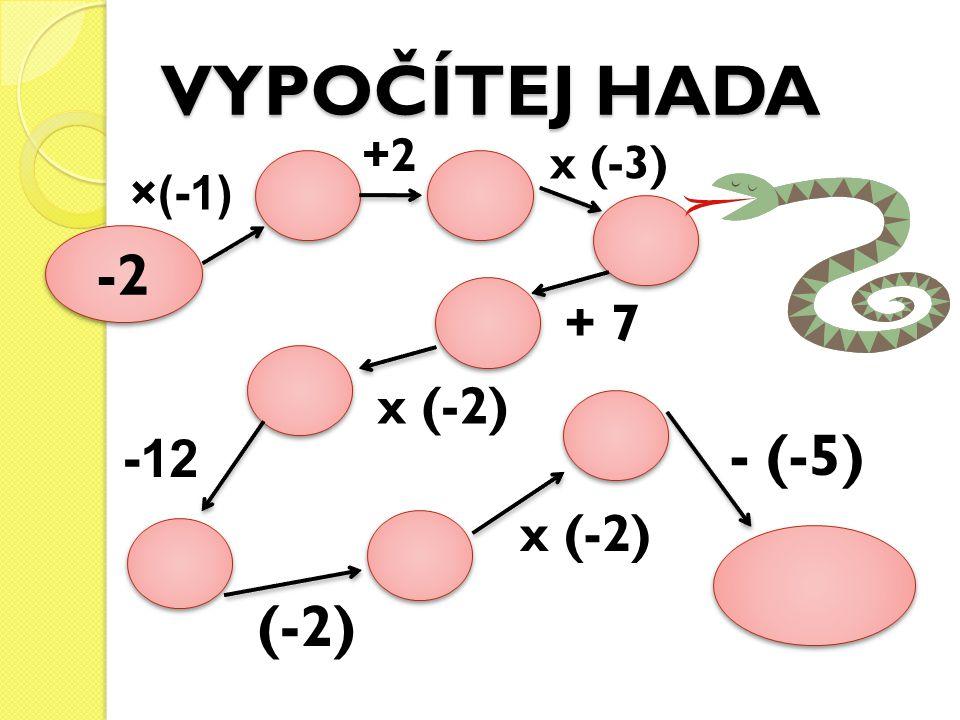 VYPOČÍTEJ HADA +2 x (-3) ×(-1) -2 + 7 x (-2) -12 - (-5) x (-2) (-2)