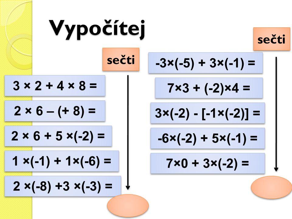 Vypočítej sečti sečti -3×(-5) + 3×(-1) = 3 × 2 + 4 × 8 =