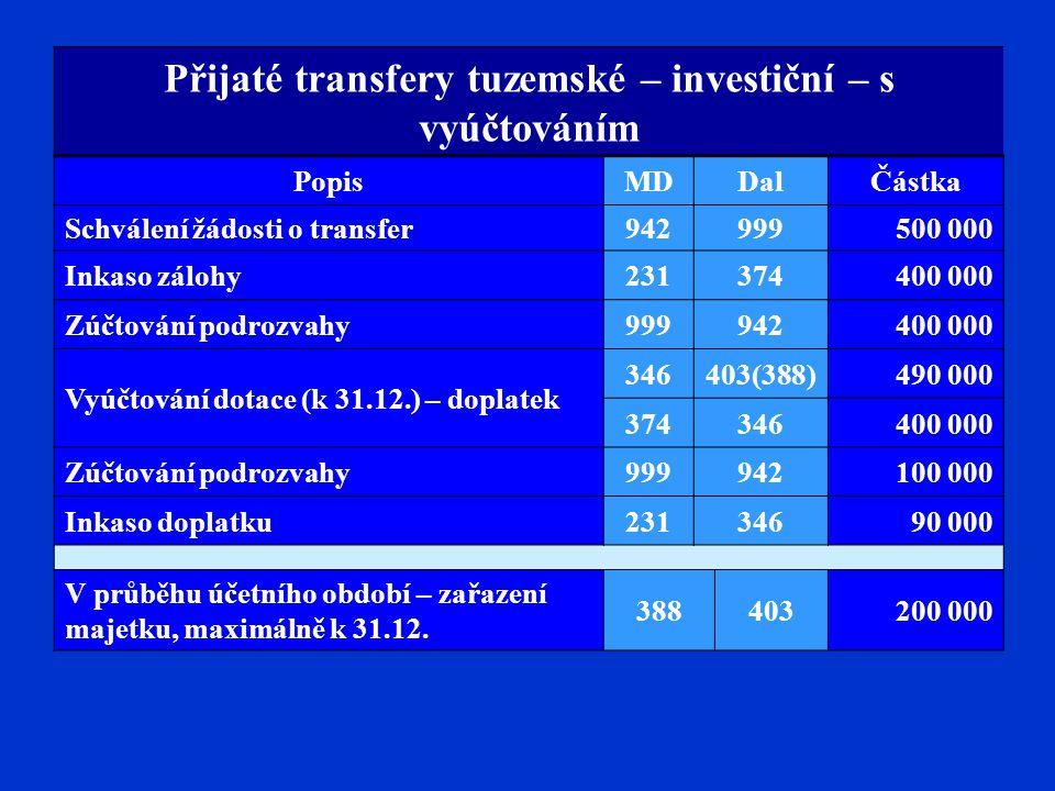 Přijaté transfery tuzemské – investiční – s vyúčtováním
