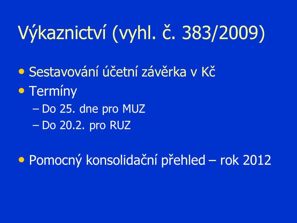 Výkaznictví (vyhl. č. 383/2009) Sestavování účetní závěrka v Kč