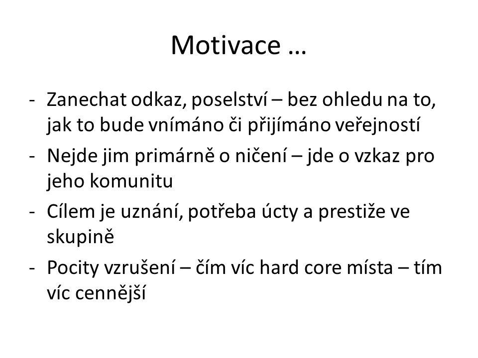 Motivace … Zanechat odkaz, poselství – bez ohledu na to, jak to bude vnímáno či přijímáno veřejností.