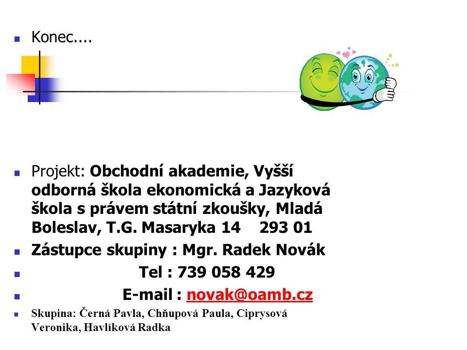 Zástupce skupiny : Mgr. Radek Novák Tel : 739 058 429