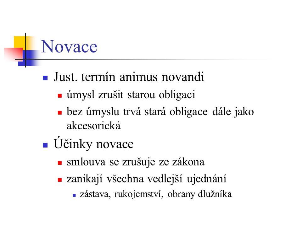 Novace Just. termín animus novandi Účinky novace