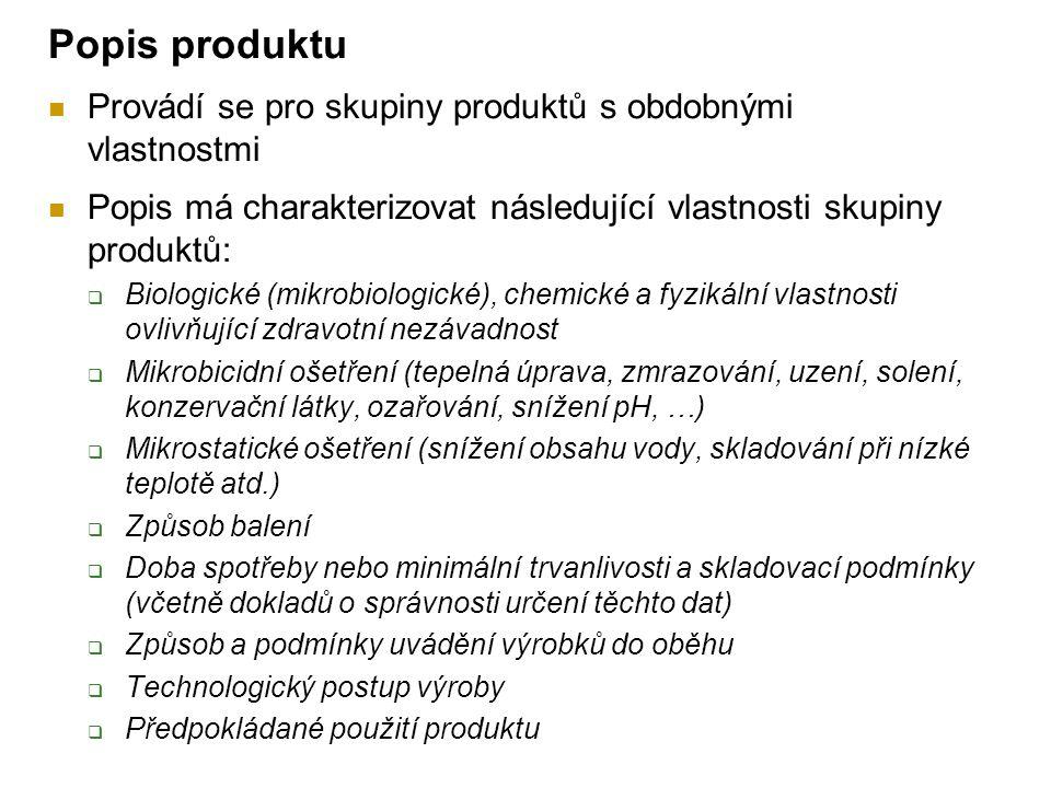 Popis produktu Provádí se pro skupiny produktů s obdobnými vlastnostmi
