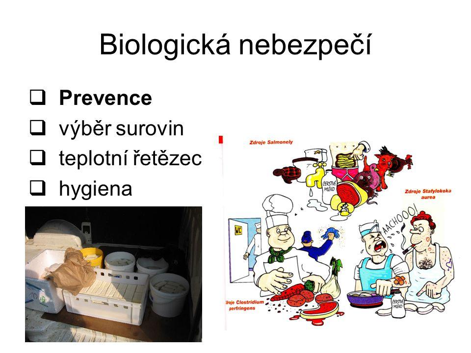 Biologická nebezpečí Prevence výběr surovin teplotní řetězec hygiena
