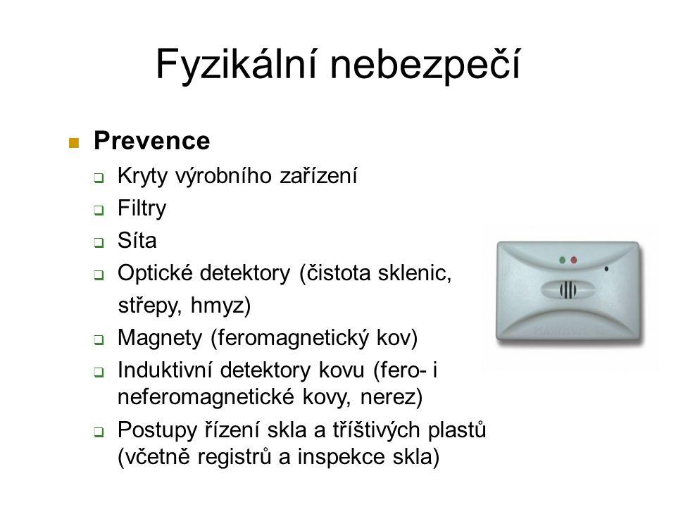 Fyzikální nebezpečí Prevence Kryty výrobního zařízení Filtry Síta