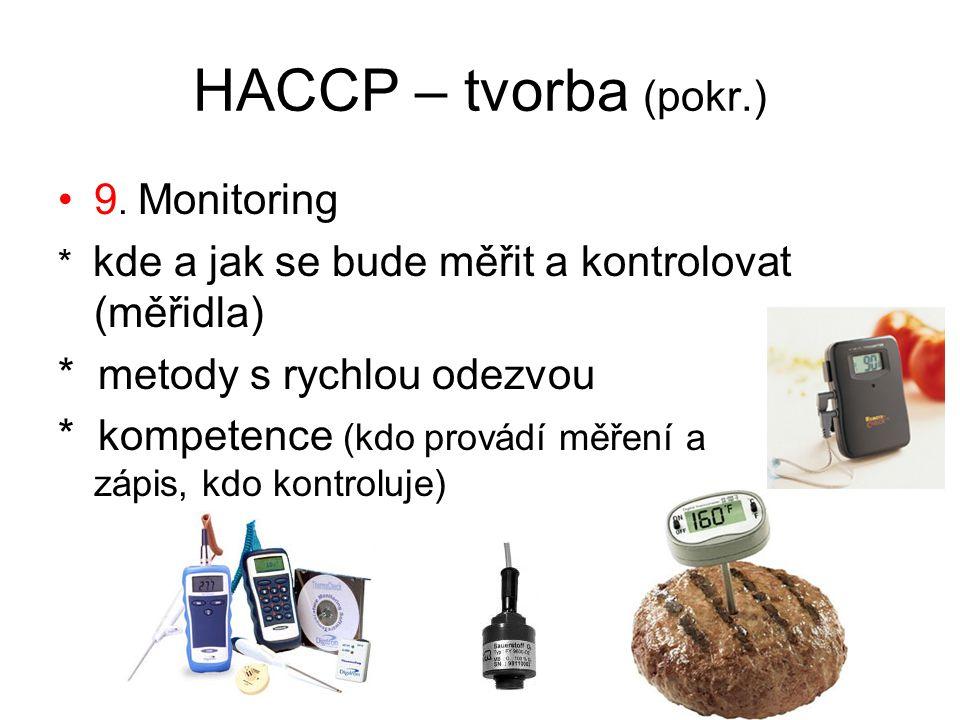 HACCP – tvorba (pokr.) 9. Monitoring * metody s rychlou odezvou