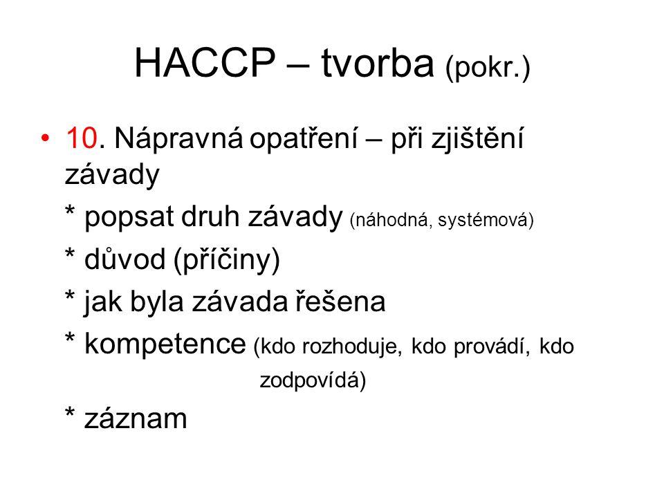 HACCP – tvorba (pokr.) 10. Nápravná opatření – při zjištění závady