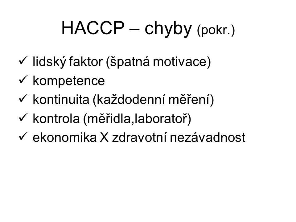 HACCP – chyby (pokr.) lidský faktor (špatná motivace) kompetence