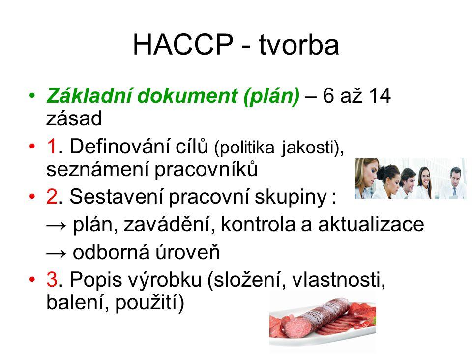 HACCP - tvorba Základní dokument (plán) – 6 až 14 zásad