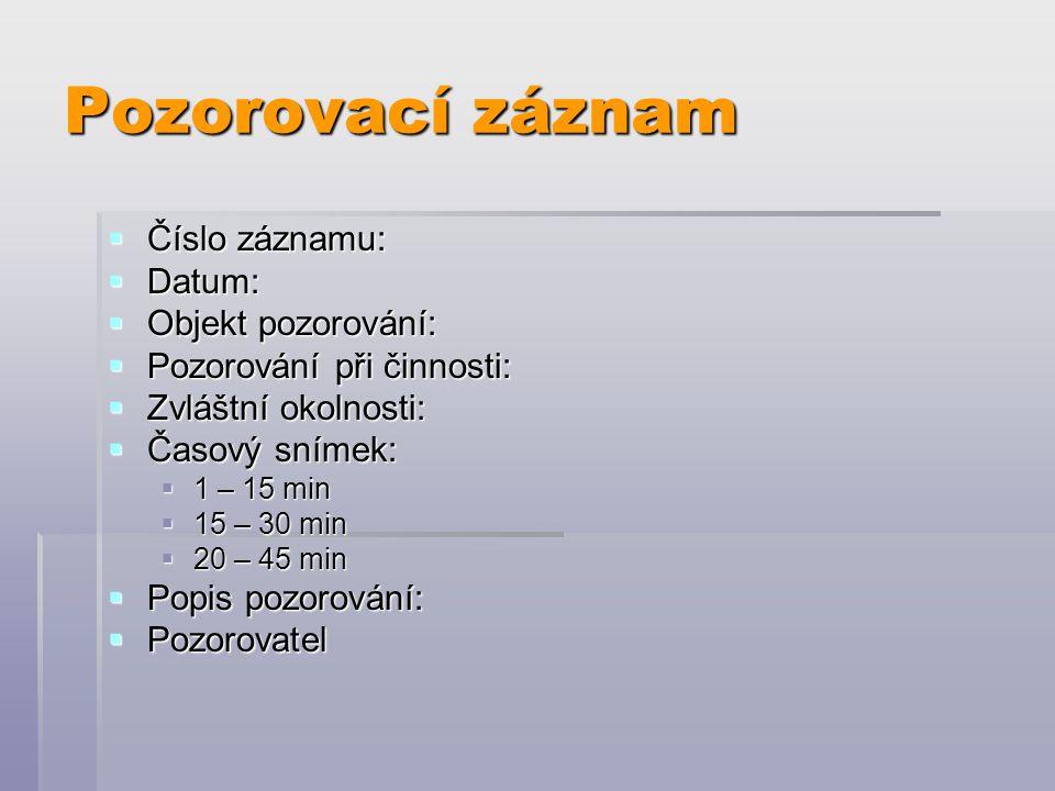 Pozorovací záznam Číslo záznamu: Datum: Objekt pozorování: