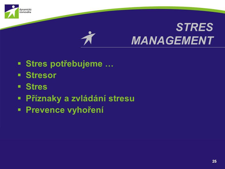 STRES MANAGEMENT Stres potřebujeme … Stresor Stres