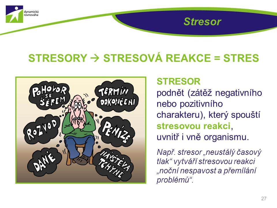 STRESORY  STRESOVÁ REAKCE = STRES