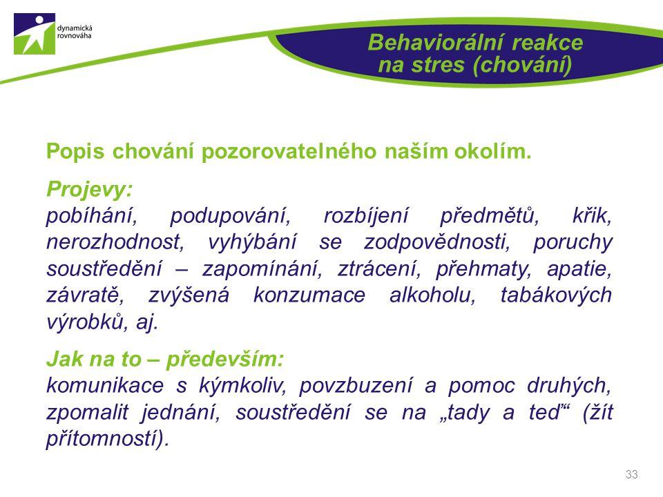 Behaviorální reakce na stres (chování)