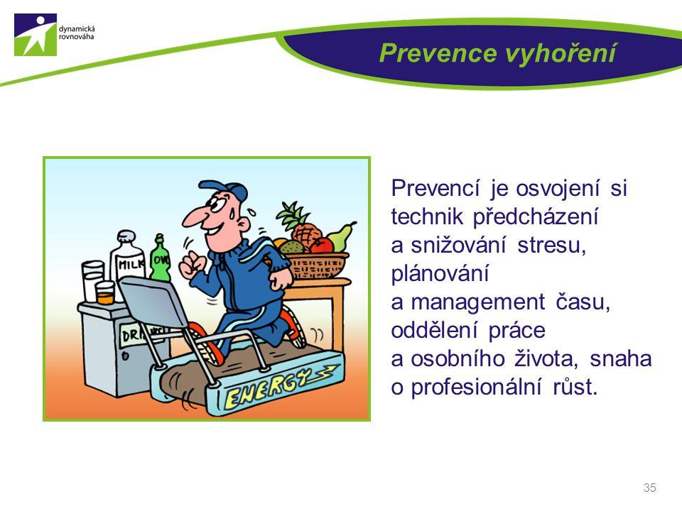 Prevence vyhoření Prevencí je osvojení si technik předcházení a snižování stresu, plánování a management času, oddělení práce.
