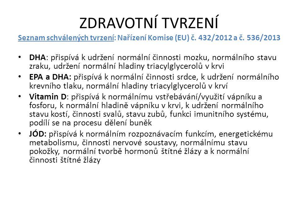 ZDRAVOTNÍ TVRZENÍ Seznam schválených tvrzení: Nařízení Komise (EU) č