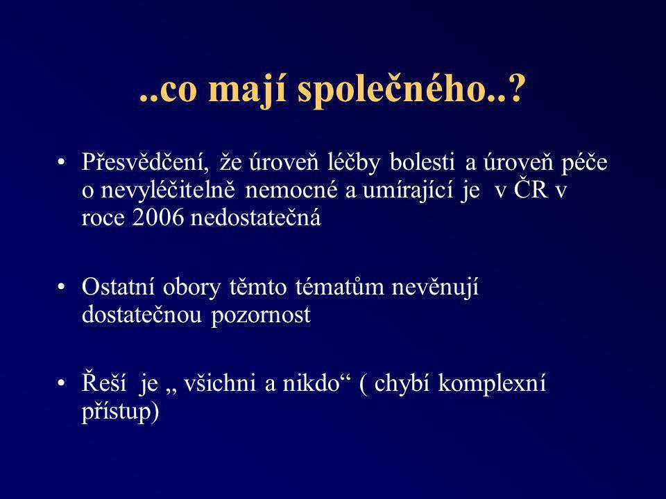 ..co mají společného.. Přesvědčení, že úroveň léčby bolesti a úroveň péče o nevyléčitelně nemocné a umírající je v ČR v roce 2006 nedostatečná.