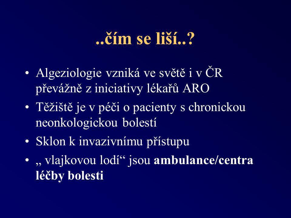 ..čím se liší.. Algeziologie vzniká ve světě i v ČR převážně z iniciativy lékařů ARO.