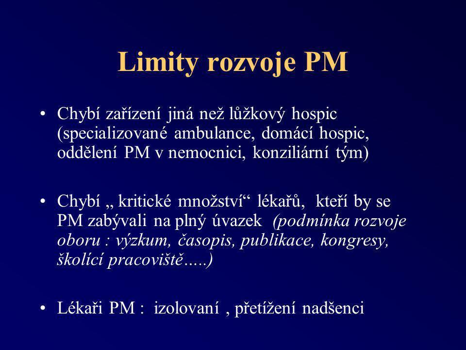 Limity rozvoje PM Chybí zařízení jiná než lůžkový hospic (specializované ambulance, domácí hospic, oddělení PM v nemocnici, konziliární tým)
