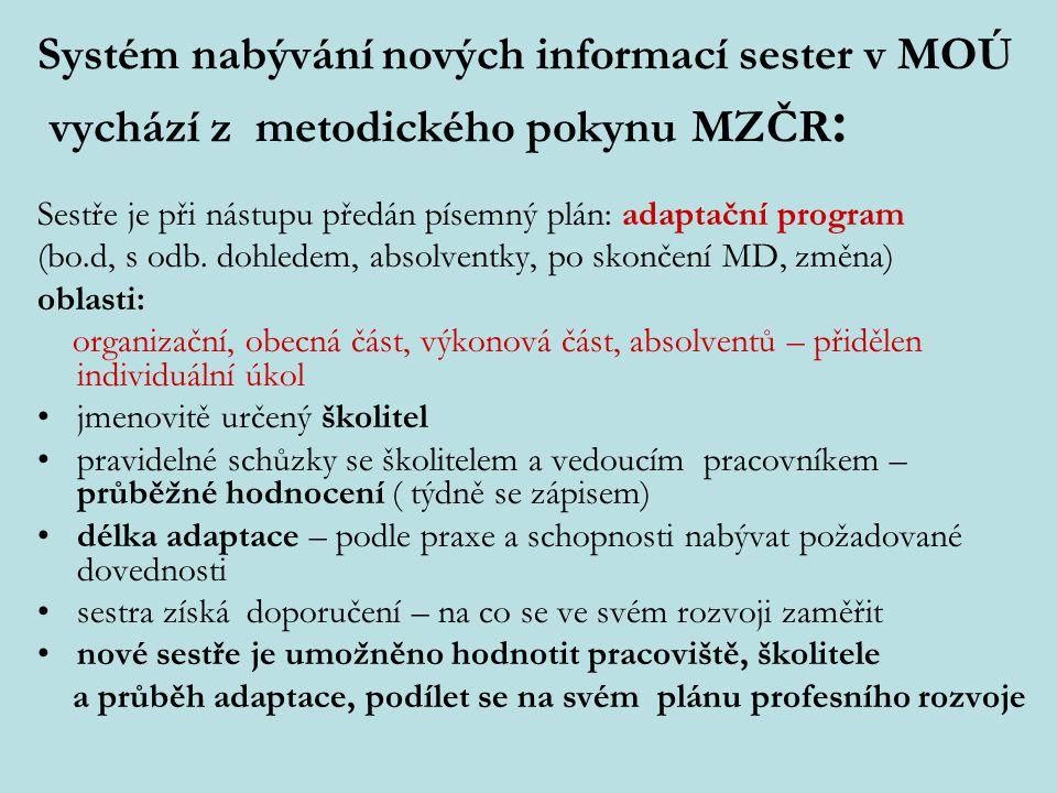 Systém nabývání nových informací sester v MOÚ vychází z metodického pokynu MZČR: