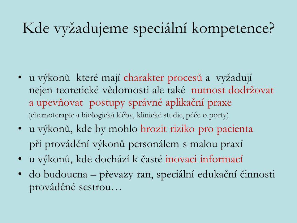 Kde vyžadujeme speciální kompetence