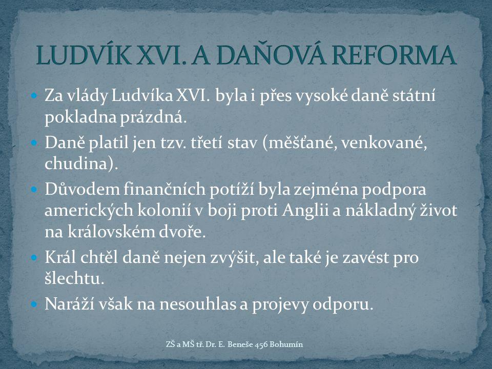 LUDVÍK XVI. A DAŇOVÁ REFORMA
