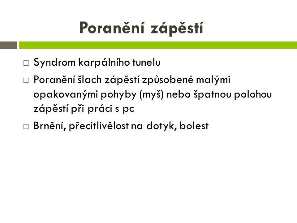 Poranění zápěstí Syndrom karpálního tunelu