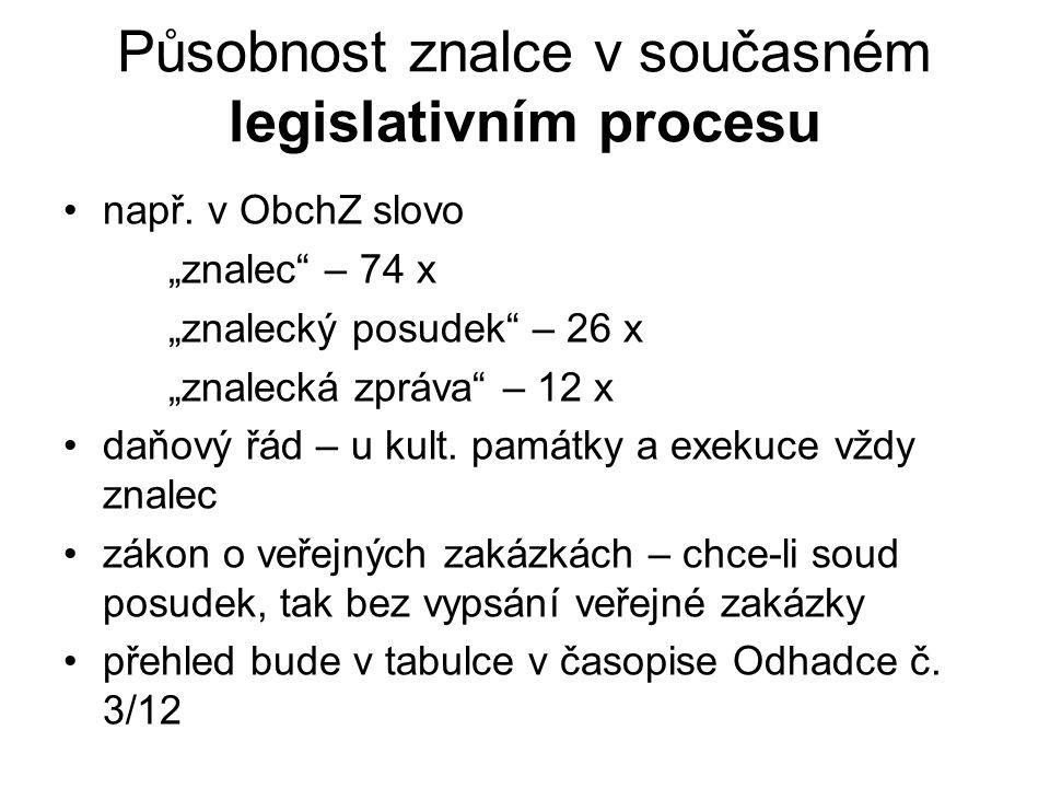 Působnost znalce v současném legislativním procesu