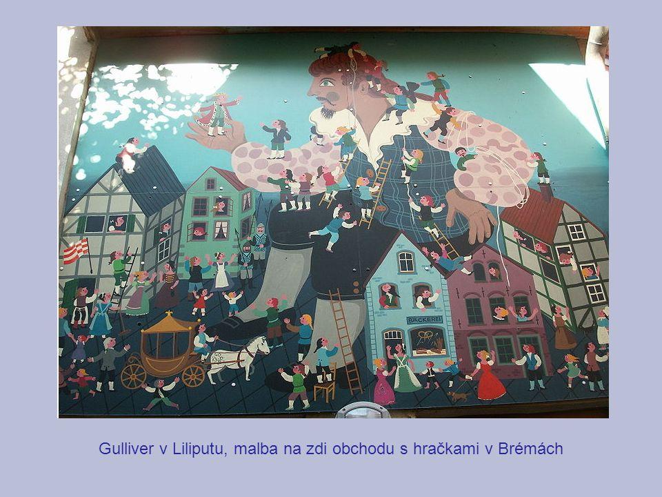 Gulliver v Liliputu, malba na zdi obchodu s hračkami v Brémách