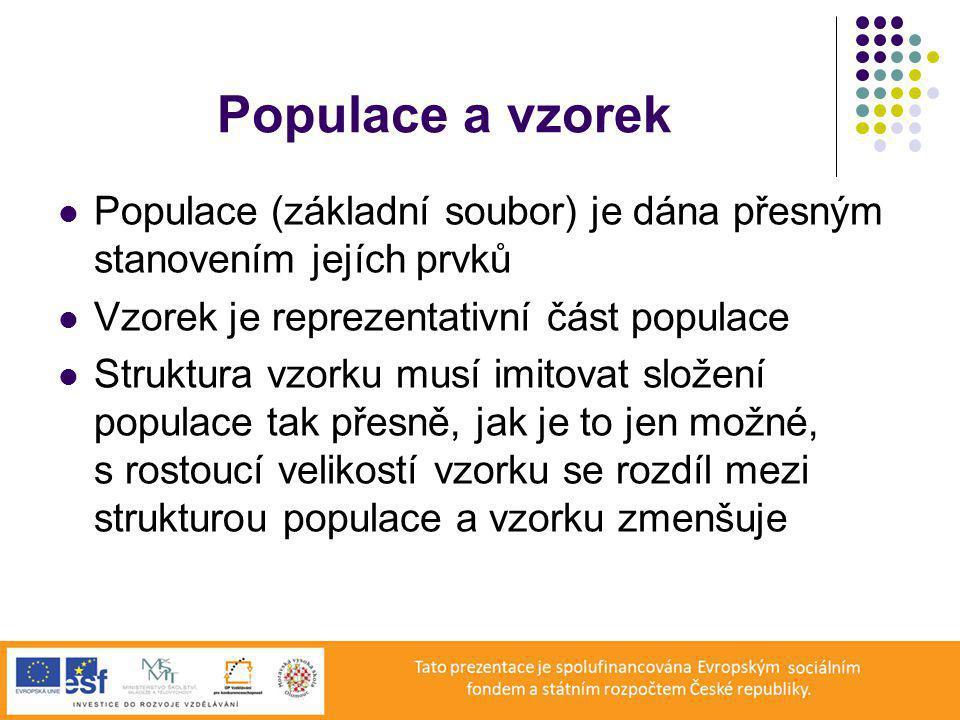 Populace a vzorek Populace (základní soubor) je dána přesným stanovením jejích prvků. Vzorek je reprezentativní část populace.