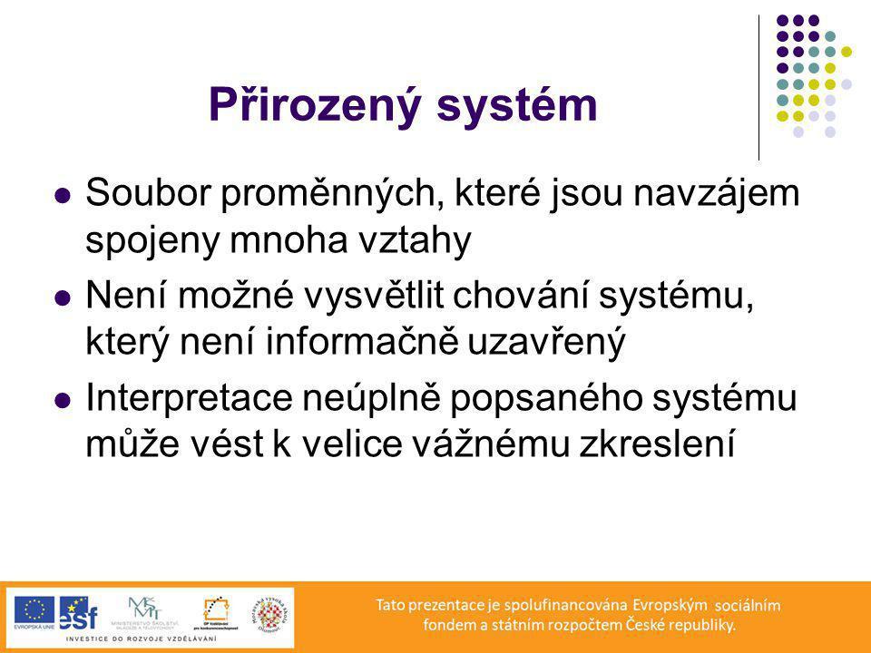 Přirozený systém Soubor proměnných, které jsou navzájem spojeny mnoha vztahy. Není možné vysvětlit chování systému, který není informačně uzavřený.